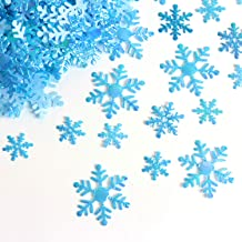 SBYURE 800 Pcs Snowflakes Confetti for Christmas Wedding Birthday Holiday Party Table Decorations Supplies,Blue Color with Iridescent Finish,3 Size