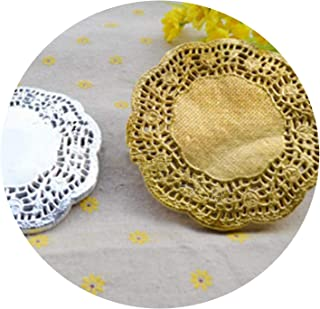 NA 100PCS/LOT 4.5/5.5/6.5/7.5/8.5/10/12 Inch Gold Silver Paper doilies placemats Coasters Table Accessories mat pad Paper Coasters,7.5Inch Silver,Round