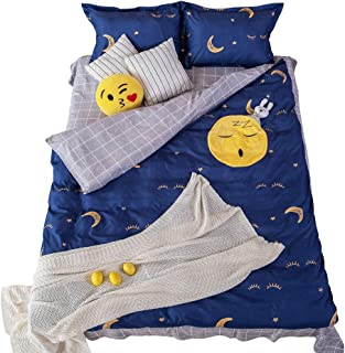 Toddler Bed Set - Kid Bedding - Bed Sheets For Boys -Bed Set For Girls - Duvet Cover For Kids - 4 Piece Full Bed Sheets Set With Smiley Emoji Pocket - Bedding Set - Toddler Bedding - Bedroom Decor