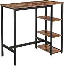 VASAGLE bartafel rechthoekig, bartafel met 3 planken, keukentafel, aanrecht, stevig metalen frame, 109 x 60 x 100 cm, eenvoudige montage, industrieel ontwerp, vintage, donkerbruin LBT11X
