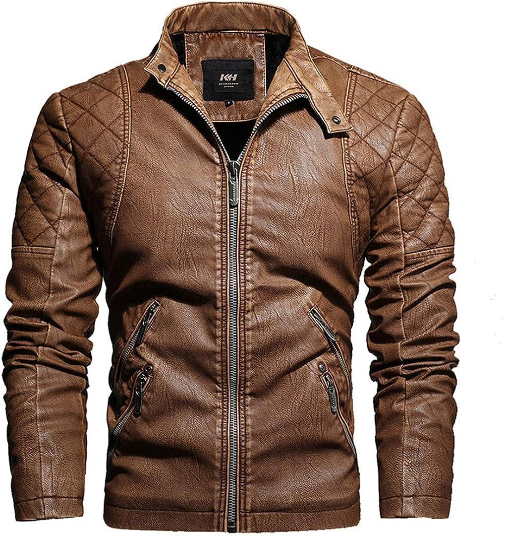 Men's Motorcycle Leather Jacket Faux PU Leather Jackets Embroidery Biker Coat Zipper Fleece Jacket