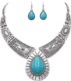 Rosemarie Collections Women's Southwest Teardrop Howlite Stone Statement Necklace Earrings Set