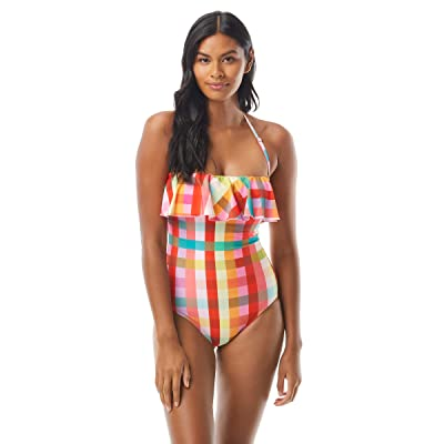 Kate Spade New York Garden Plaid Ruffle Bandeau One-Piece w/ Underwire and Removable Straps (Multi) Women