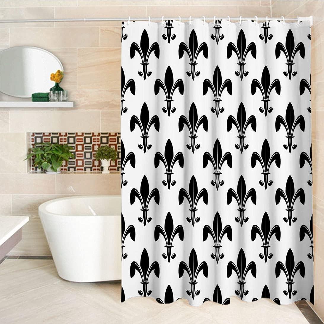 Vintage Custom Shower Curtain Black Classic and De Fleur Milwaukee Mall White 40% OFF Cheap Sale