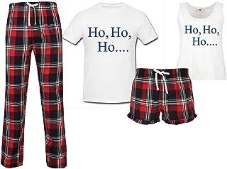 60 Second Makeover Limited Ho Ho Ho Christmas Couples Matching Pyjama Tartan Set Couples Family Twinning