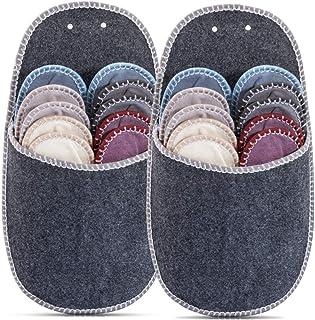ONVAYA - Juego de 2 zapatillas para invitados | Pantuflas | Juego de zapatillas | Fieltro | 11 unidades | Gris | Sparset
