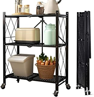 VOLPONE Metal Storage Shelves with Wheels,Freestanding Book Shelf,Folding Storage Rack No Assembly for Garage, Bedroom, Kitchen,and Pantry(3-Tiers)