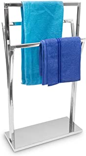 Relaxdays Towel Rack Curved H x W x D: 86 x 50 x 20 cm Free Standing Towel Rail Small Clothes Butler in Stainless Steel Fi...