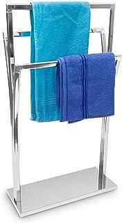 Relaxdays 10019257 porte-serviettes sur pied en inox 3 tringles 86 x 50 x 20 cm à poser avec surface chromée 3 barres au d...