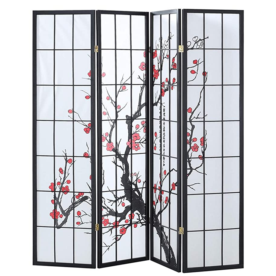 Giantex 4 Panel Folding Privacy Screen Plum Blossom Room Divider Shoji Screen Living Room Bedroom Furniture
