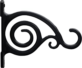 Gray Bunny Fancy Curved Hook, Black, Cast Iron Wall Hooks for Bird Feeders, Planters, Lanterns, Wind Chimes, As Wall Brackets and More!