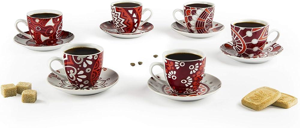 Excelsa radical, set di 6 tazzine da caffè con piattino, in porcellana 64807