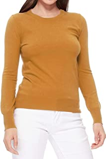 YEMAK Women's Long Sleeve Crewneck Casual Soft Knit Pullover T-Shirt Sweater