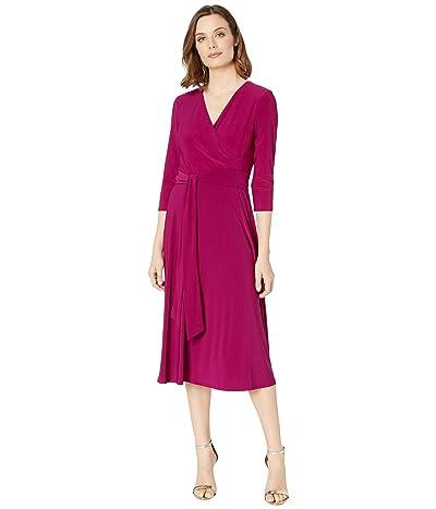LAUREN Ralph Lauren Carlyna 3/4 Sleeve Day Dress (Very Berry) Women