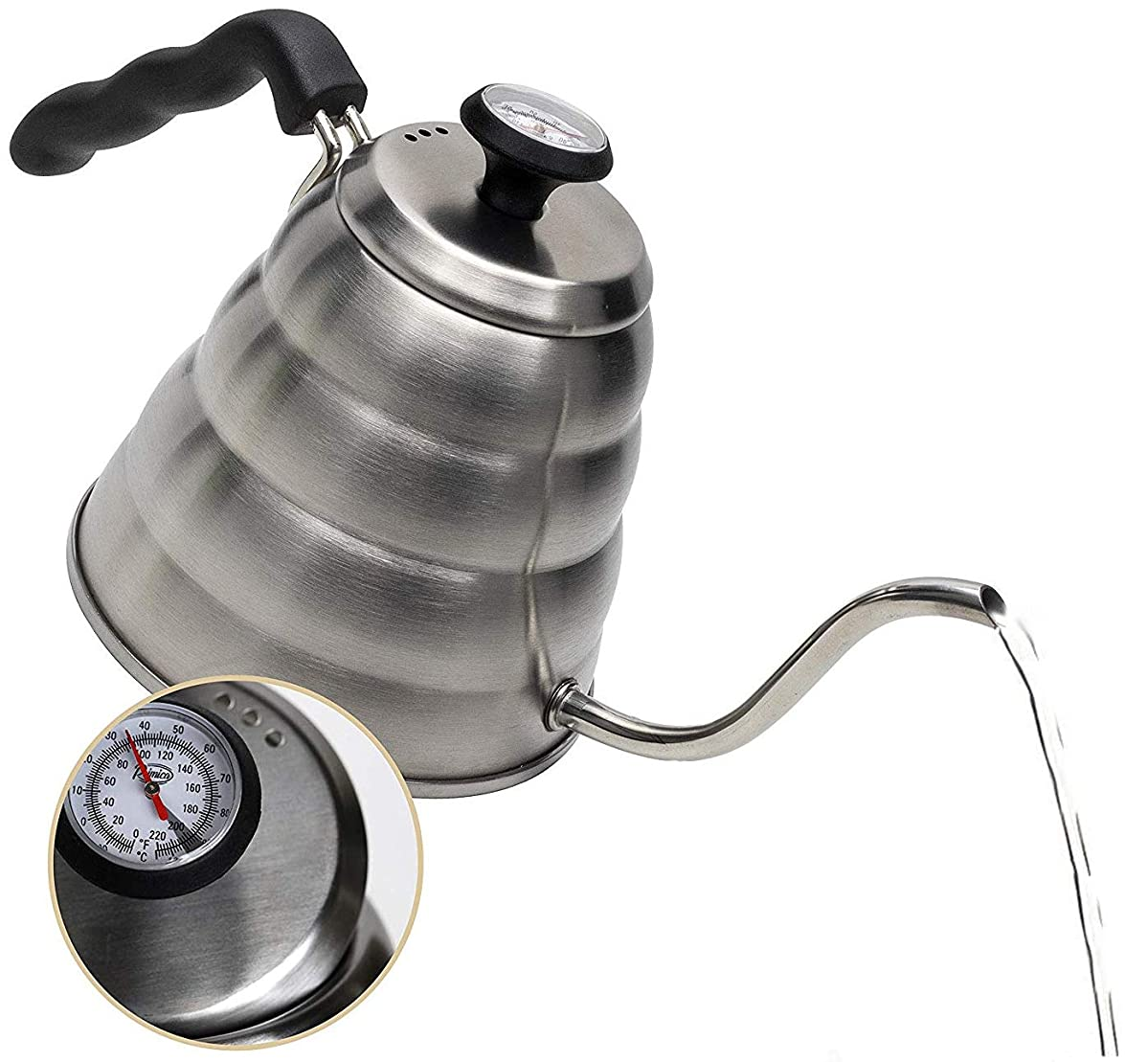 Pour Over Coffee Kettle with Outstanding Thermometer (40floz) - Gooseneck Kettle - Triple Layer Stainless Steel Bottom Works on any Heat Source for Drip Coffee and Tea