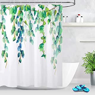 LB Fresh Design Leaf Shower Curtain,Blue Green Leaves Floral Decorative Shower Curtains for Bathroom Waterproof Fabric 72x72 Inch with Hooks