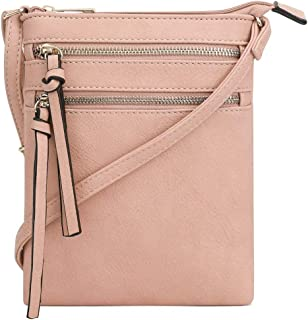 Essential Casual Functional Multi Pocket Double Zipper Crossbody Purse Bag for Women