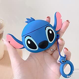Lalakaka Compatible with Airpods 1/2 Cute Case,Cartoon Character Silicone Animal Airpod Designer Skin Kawaii Funny Fun Cool Ring Design Cover Kids Teens Air pods Cases for Girls Boys(Ear Blue Stitch)