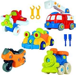 WolVol 97-Piece Take-A-Part Building Vehicles Set - Toddler Assembly STEM Toy - Take Apart for Boys & Girls - Screwdriver Included - Airplane, Car, Fire Truck, Motorcycle, Train, - Educational