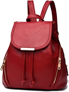 Hellofuture PU Leather Backpack Casual Fashion Trendy Outdoor Daypack Stylish School Bag Solid Travel Backpack for Girls and Womens