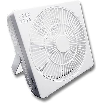 トップランド DCモーター搭載 18cm デスクファン どこでもファン (風量4段階) タイマー付 充電専用USBポート付 ホワイト M7205-WT