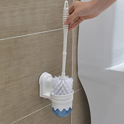 Toku Wall Mounted Plastic Toilet Brush Holder, Rustproof Heavy Plastic & Frosted Glass for Bathroom, Toilet Storage Holder