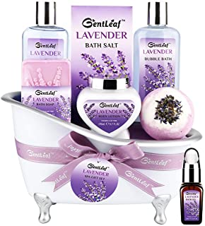 Bath & Body Gift Set for Women, GentLeaf Home Spa Gift Basket Scented with Lavender & Jasmine, Luxury Bath Set Includes Bubble Bath, Shower Gel, Bath Bomb/Soap/Oil 8 Pcs, Relaxing Spa Baskets for Her