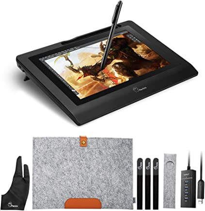 "Parblo 10.1"" Coast10 Graphics Drawing Tablet LCD Monitor with Cordless Battery-Free Pen +Wool Liner Bag"