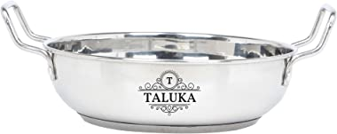 Taluka Induction Base Stainless Steel Kadhai Pan Wok, 1000 Ml, 8.5 X 3 Inch, Steel Silver