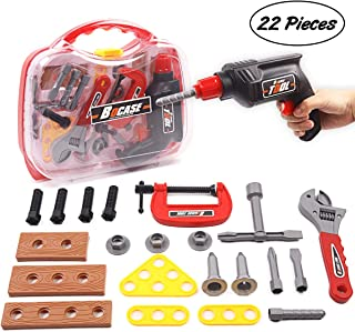 ARELUX Kids Tool Set 22 Pieces Pretend Toy Tools Kit Construction Toys Accessories with Handy Sturdy Case