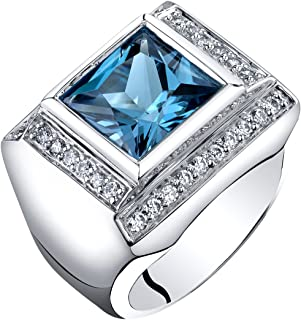 Peora Mens 5 Carats London Blue Topaz Ring Sterling Silver Princess Cut Sizes 8 to 13