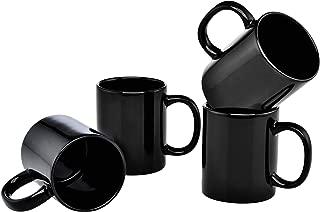 Culver 11-Ounce Hampton Ceramic Mug, Black, Set of 4