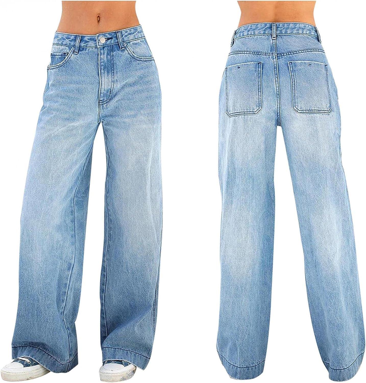 fannyouth Baggy Jeans for Women Y2k High Waist Denim Jeans Wide Leg Pant Casual Baggy Trousers Vintage Streetwear