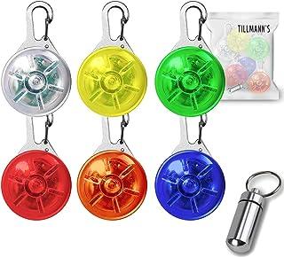 O³ O³ Leuchtanhänger // 6 Stück // Verschiedene Farben // Sicherheitsclip mit 3 Leuchtmodi // Blinklicht Schulranzen, Kinder, Hunde, Katzen, Jogger, Fahrradfahrer, Camper // Adressanhänger gratis