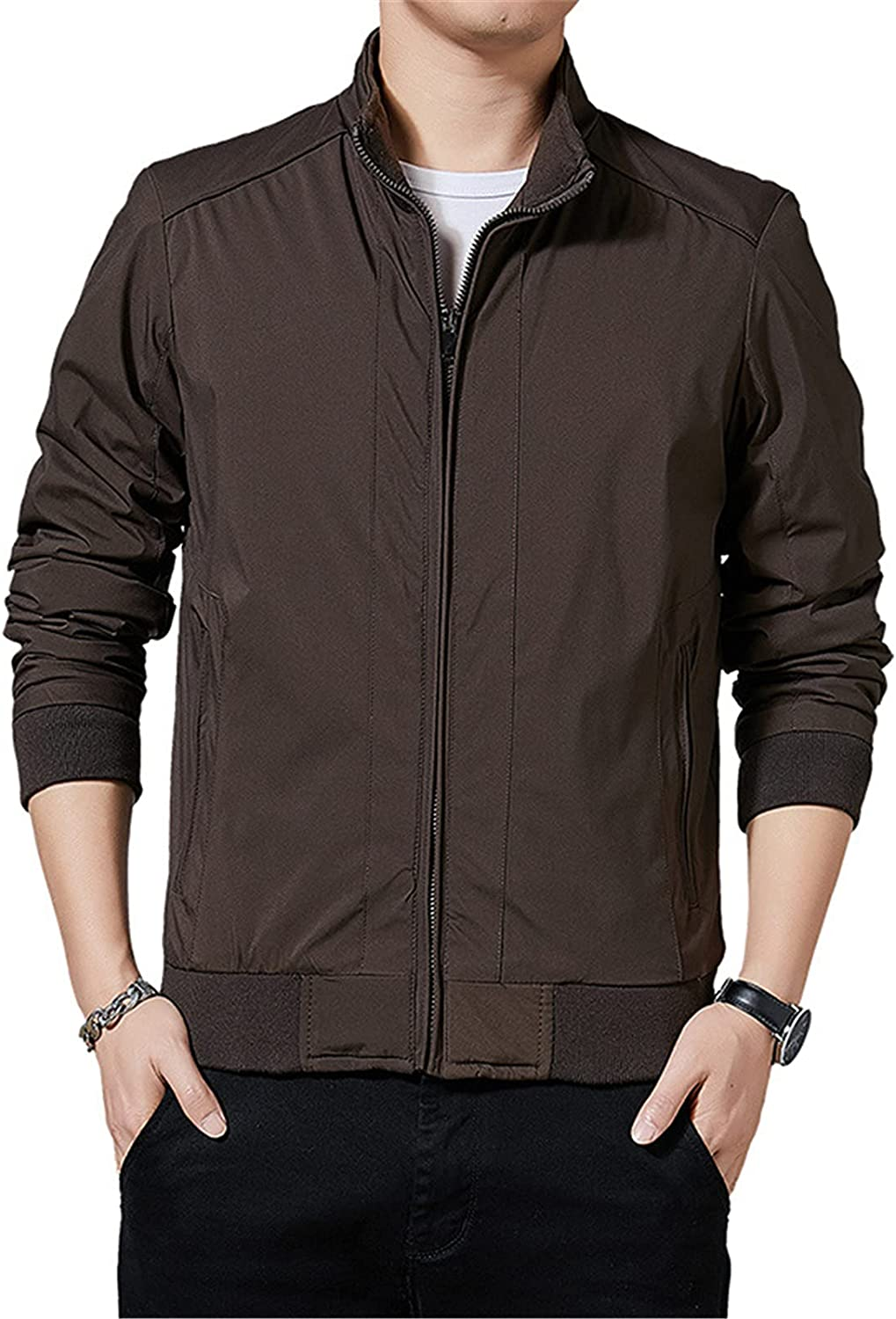 Men's Stand-Up Collar Business Jacket,Pure Color Simple Coat, for Leisure, Work, Outing, Daily Wear