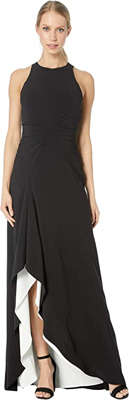 Sleeveless High Neck Open Drape Gown with Ruching