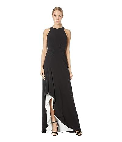 Halston Heritage Sleeveless High Neck Open Drape Gown with Ruching (Black/Chalk 1) Women