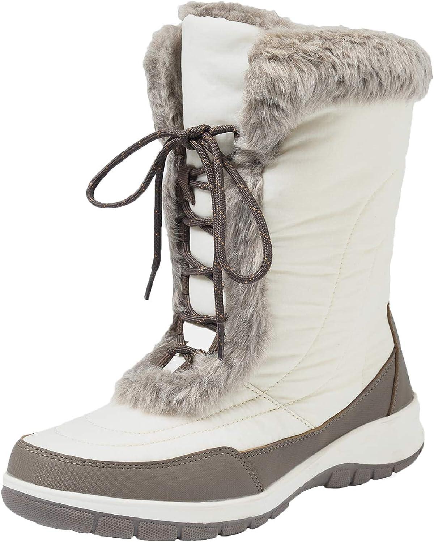Shenda Women's Mid-Calf Nylon Boots Snow Fabric Max Limited price sale 80% OFF E7629