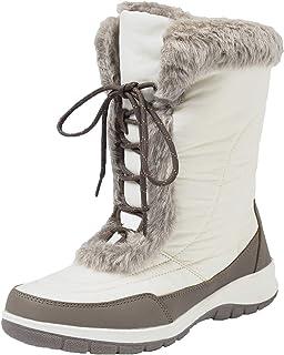 21ed18545b679 Shenji Après Ski Femme Bottes de Neige Fourrées Boots Hiver Mi-Mollet  Anti-dérapants