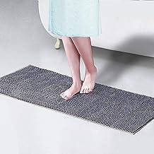 Badmatten Antislip - Extra lange grijze badmat, Soft Chenille Badkamer Rug, Bad Mats, machinewasbaar deurmatten, Floor Ma...