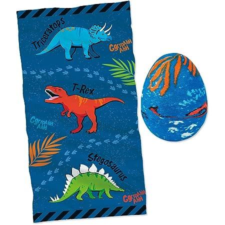 Moses 40214 Serviette Magique, Jolie, en Forme d'œuf de Dinosaure, pour Les Anniversaires d'enfants, 100% Coton, Multicolore