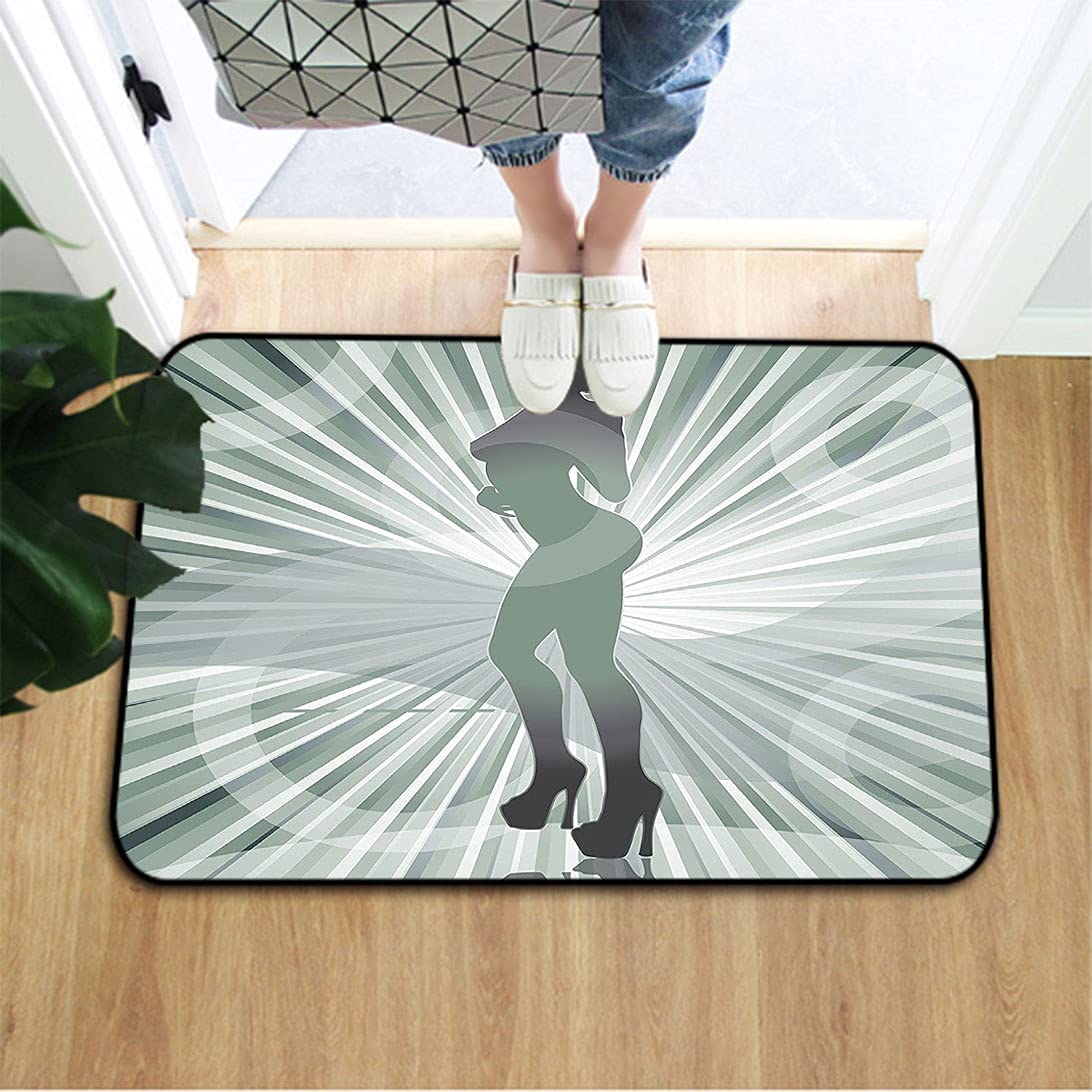 Max 59% OFF Modern Oblong Floor Mat an Afro Lowest price challenge in High Heels Woman American Sil