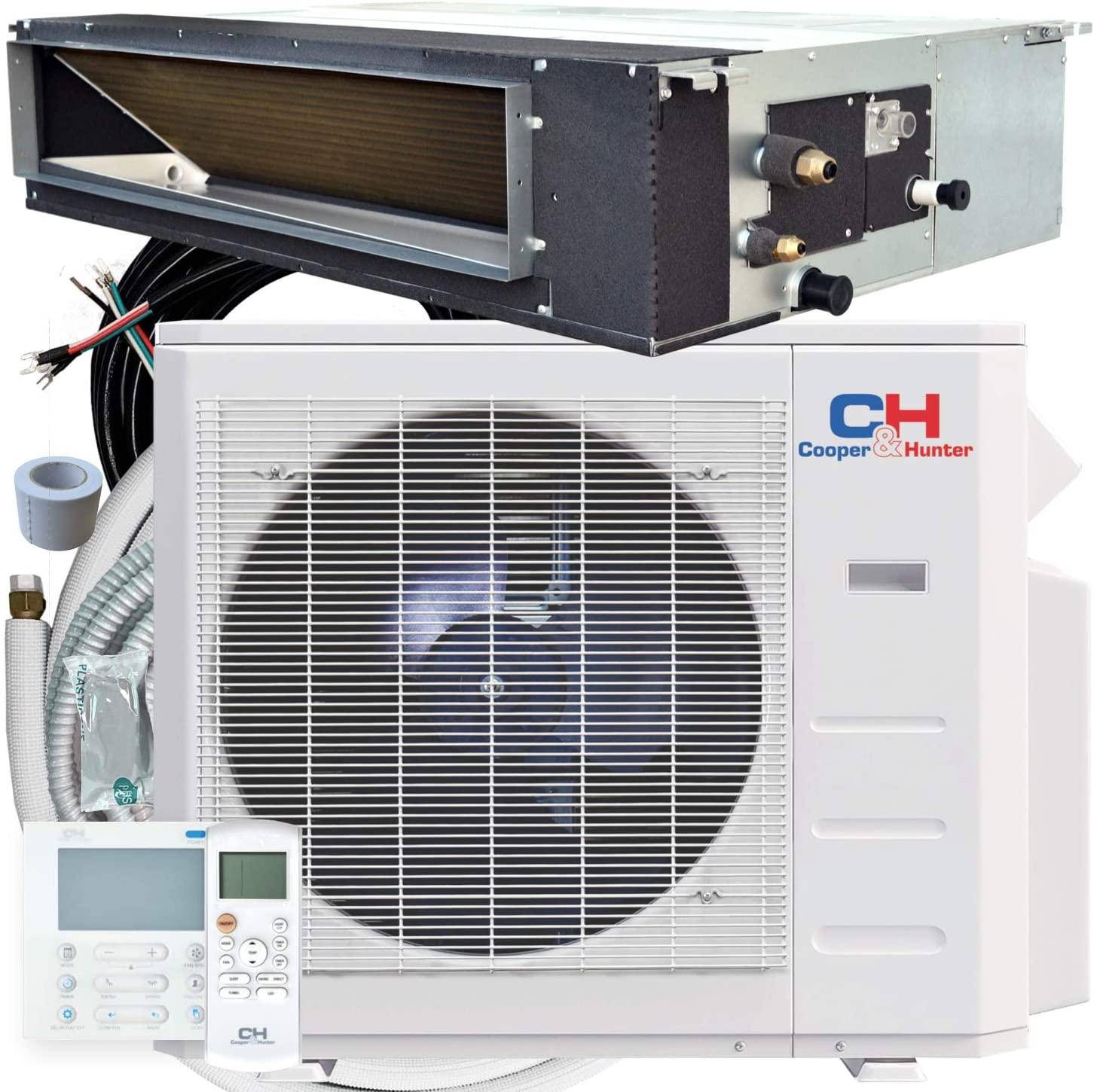 Cooper & Hunter 12,000 BTU Concealed Slim Duct Mini Split AC/Heating system, Built-in Water Pump, Pre-Charged, Including 25ft Installation Kit, Remote, and Wall Thermostat