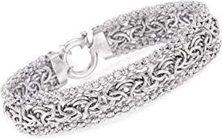Ross-Simons Sterling Silver Wide Beaded Byzantine Bracelet