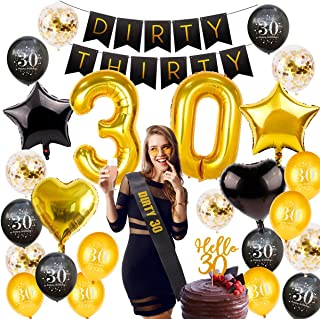 30th Birthday Decorations Party Supplies - Gold 30 Number Birthday Balloons, 30 Birthday Banner, Dirty 30 Sash, Hello 30 Cake Topper, 30th Birthday Party Decorations by QIFU(30 Birthday Balloons)