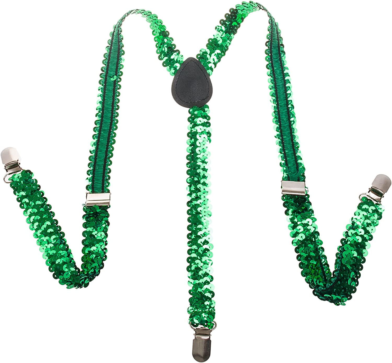 Buckletown Men's Sequined Y-Shape Stretch Suspenders (Green)