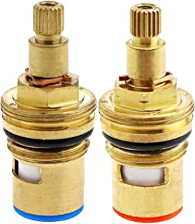 Micro Trader Replacement Tap Valves Brass Ceramic Disc Insert Gland Cartridge Cold/Hot Water 1/4 Quarter Turn 20 Teeth G 1/2