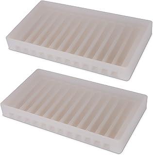 NIUHOM シンクトレイ&オーガナイザー - 水切りシリコンソープとスポンジホルダー - キッチン バスルームシンクオーガナイザー 石鹸 スポンジ スクラバー用トレイ - 2パック(クリア)