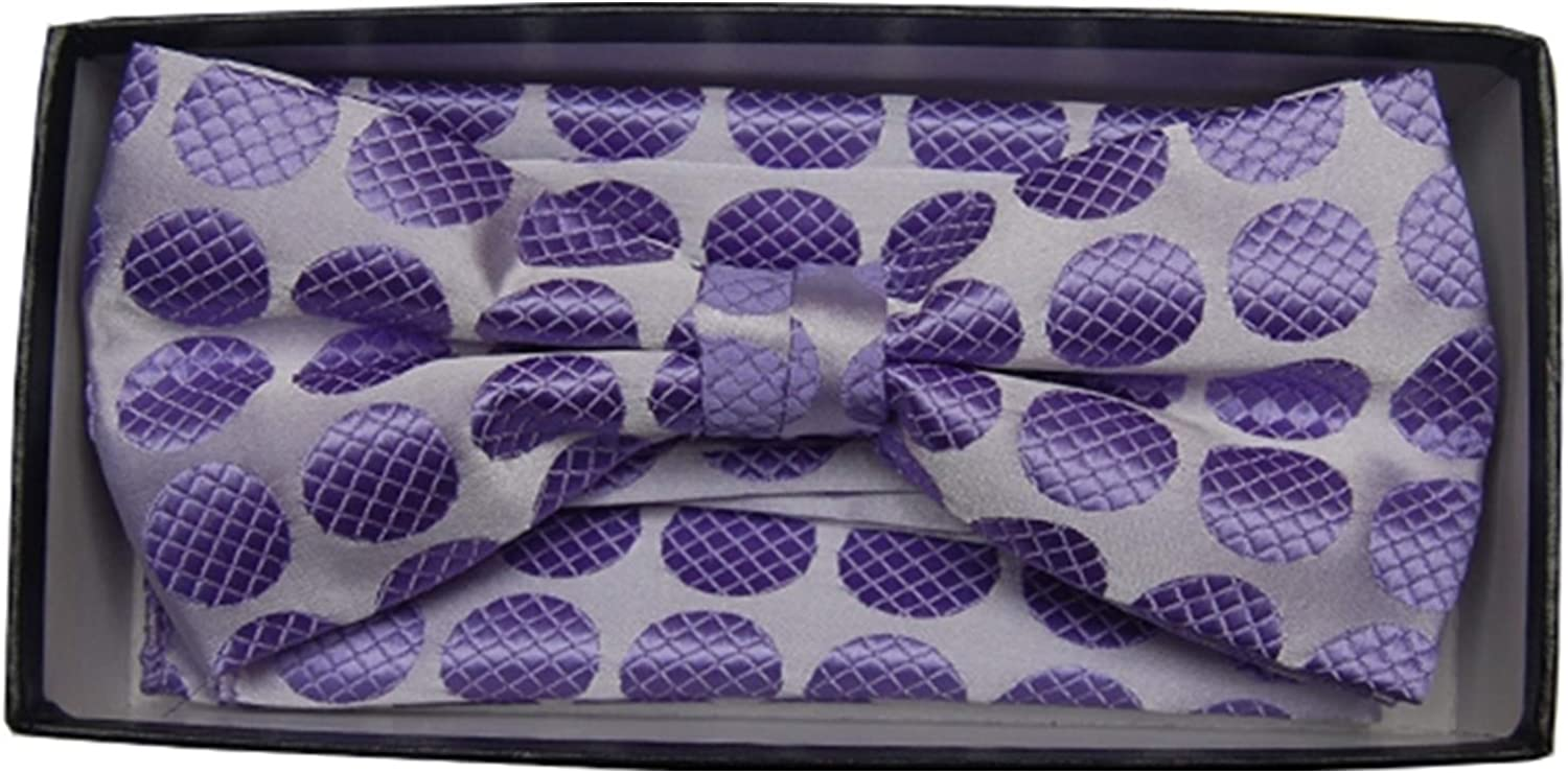Men's Purple Pre-Tied Bow Tie With Matching Hanky BH-1663