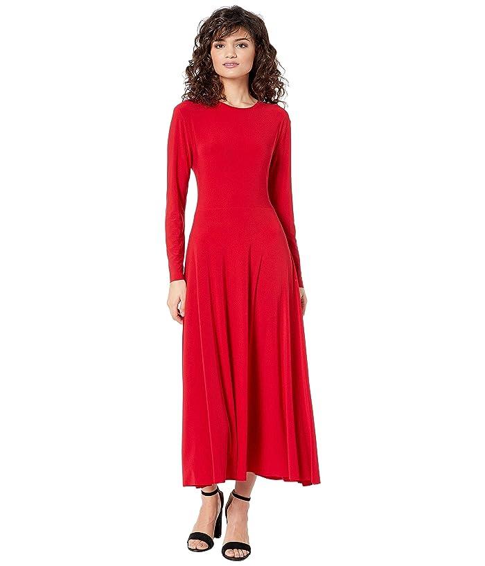 KAMALIKULTURE by Norma Kamali Long Sleeve Flared Dress (Red) Women